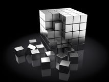 3d cubes. Abstract 3d illustration of steel cubes, over dark background vector illustration
