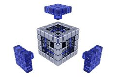 3D Cubes - Assembling Parts - Blue Glass. (3D, white or transparent background Stock Photos