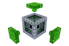 3D Cubes - Assembling Parts - Green Glass. (white or transparent background Stock Photography