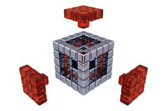 3D Cubes - Assembling Parts - Red Glass. (3D, white or transparent background Royalty Free Stock Photos