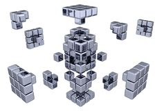 3D Cubes - Assembling Parts. (white or transparent background Stock Image
