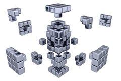 3D Cubes - Assembling Parts Stock Image