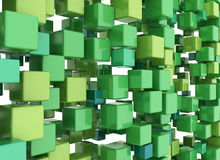 3D cubes background Green Stock Photo