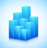 3D cubes in blue color Stock Photos