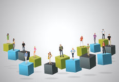 3d cubes with business people Stock Photography