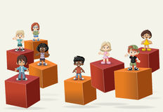3d cubes with business people. Stock Photos