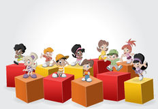 3d cubes with cartoon children. Royalty Free Stock Photo