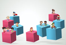 3d cubes with cartoon children playing. Stock Images