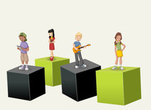 3d cubes with cartoon teenagers Royalty Free Stock Image