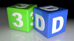 3D cubes. Colored cubes with the letters 3D: three dimensions in technologies Stock Images