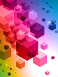 3D Cubes on Colorful Abstract Background Stock Photo