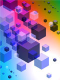 3D Cubes on Colorful Abstract Background. Original Illustration Royalty Free Illustration