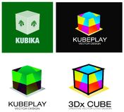 3D Cubes Company Logo Set Stock Images