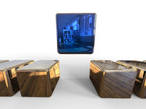 3D cubes - concept de chef illustration libre de droits