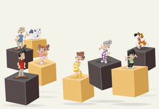 3d cubes with cute happy cartoon family with pets. Royalty Free Stock Photos
