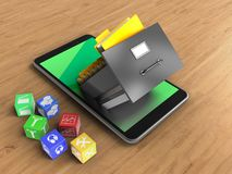 3d cubes. 3d illustration of mobile phone over wooden background with cubes and archive Stock Photo