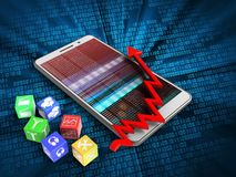 3d cubes. 3d illustration of white phone over digital background with cubes and arrow chart Stock Image