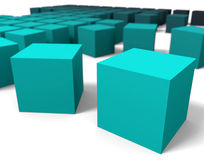 3D cubes dof. 3D blue cubes in perspective point of view with dof Royalty Free Stock Photography