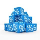 3d - cubes en pour cent - bleu Photos libres de droits