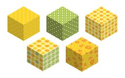 3D cubes with fruit backgrounds on each side. Set of spatial figures isolated on white background. Flat isometric graphics. Summer bright colors. Vector vector illustration