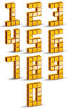 3d cubes golden numbers set. Royalty Free Stock Photo