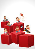 3d cubes with happy cartoon boy playing. Royalty Free Stock Photo