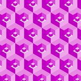 Pink 3D cubes in abstract repeating pattern. 3D cubes and hexagons in a pink and purple repeating pattern. bright design for backgrounds, backdrops, wallpapers Royalty Free Stock Image