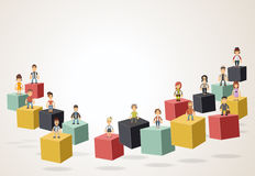 3d cubes with hipster people wearing vintage clothes. Royalty Free Stock Image