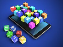 3d cubes. 3d illustration of mobile phone over blue background with cubes and icons Stock Photos