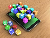 3d cubes. 3d illustration of mobile phone over wooden background with cubes and icons Stock Images