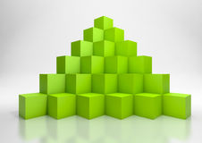 3D Cubes. 3d illustration of a  pyramid made of green cubes Stock Photos