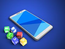 3d cubes. 3d illustration of white phone over blue background with cubes and Royalty Free Stock Image
