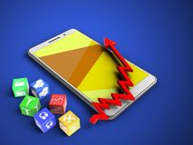 3d cubes. 3d illustration of white phone over blue background with cubes and arrow chart Royalty Free Stock Photography