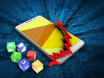 3d cubes. 3d illustration of white phone over digital background with cubes and arrow chart Stock Photography