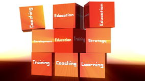 3d cubes and learning concepts stock footage