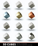 3D cubes with metal textures Stock Photo