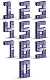3d cubes numbers set. Royalty Free Stock Image