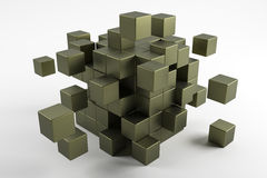 3d cubes scatter in different directions. Abstract reflected obj Royalty Free Stock Photography