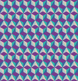 3D cubes seamless pattern. Optical illusion, retro royalty free illustration