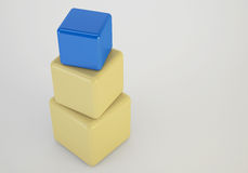 3d cubes stacking box, unique concept Royalty Free Stock Image