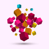 3d cubes. Vector geometric background with cubes. Royalty Free Stock Photography