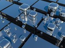 3D Cubes. Very beautiful metal mirrored cubes Stock Photos