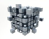 3D Cubes. Very beautiful metal mirrored cubes Royalty Free Stock Photography