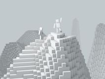 3d cubic character on top of mountain. Stock Photos