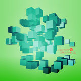 3d cubic design. Cubic abstract architecture background. 3d vector illustration Stock Photo