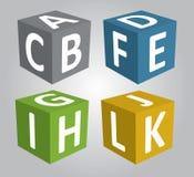 3D cubico con il carattere di ABC, 3d vettore, vettore cubico Fotografia Stock