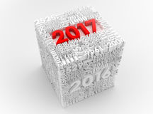 3D cubo do ano novo 2017 Imagens de Stock Royalty Free