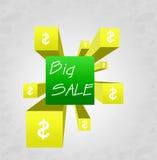 3d cubo - venta grande Foto de archivo libre de regalías