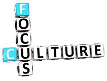 3D Culture Focus Crossword cube words. On white background Royalty Free Stock Photo