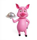 3d cuoco unico Pig con il piatto Fotografia Stock Libera da Diritti